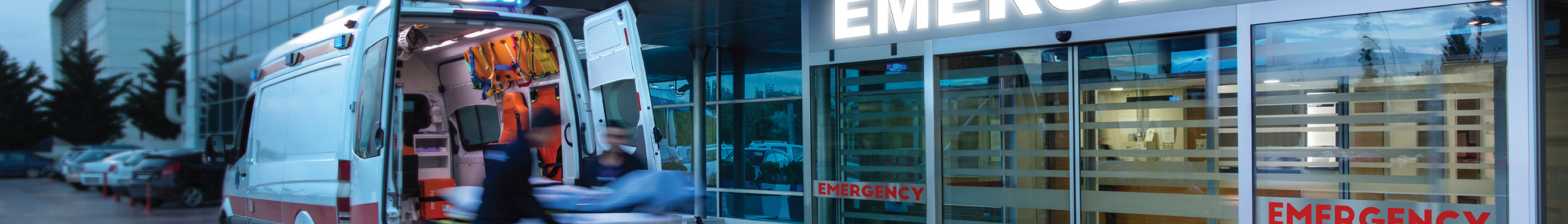 Ambulance in front of an emergency room entrance