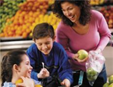 Mon shopping for fruits and vegetables with son and daughter