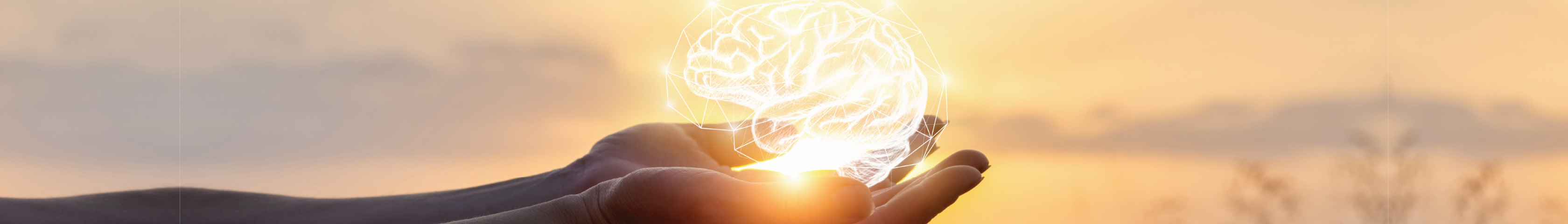 Hands extended holding a digitally embedded picture of a white human brain